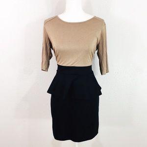 Bar III tan & black peplum dress